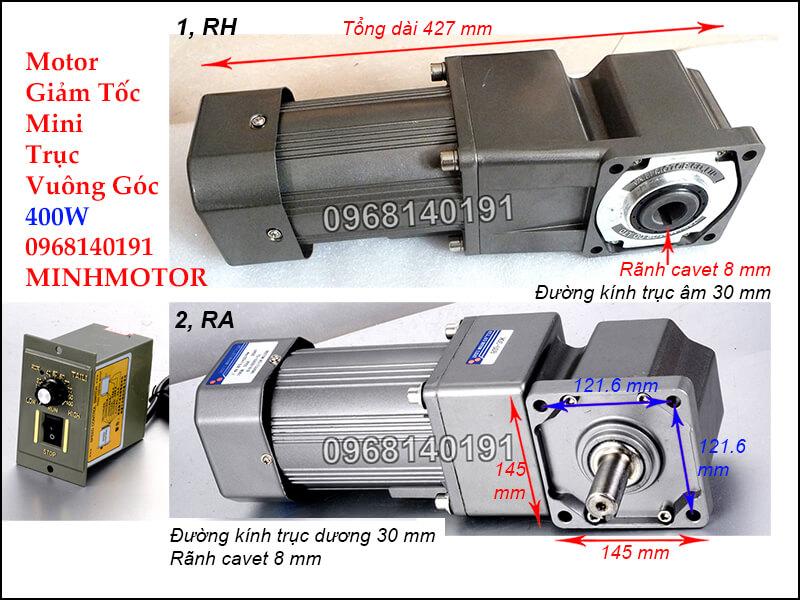 Kích thước lắp đặt motor 1 pha trục cốt âm dương