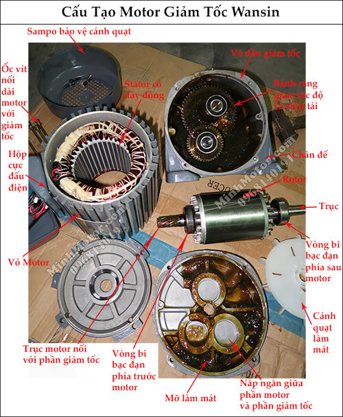 Cấu tạo motor giảm tốc wansin