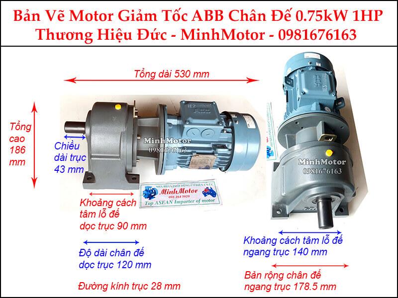 Động cơ giảm tốc ABB 0.75Kw 1Hp chân đế