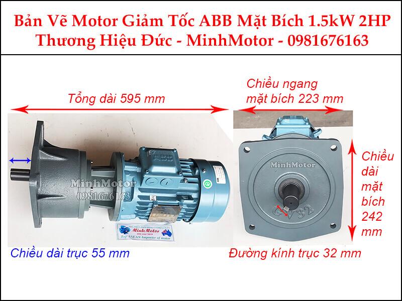 Motor giảm tốc ABB mặt bích 1.5Kw 2Hp