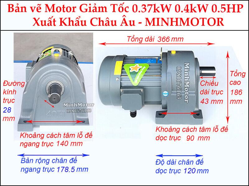 Động cơ giảm tốc 0.5Hp 0.37KW chân đế trục 28