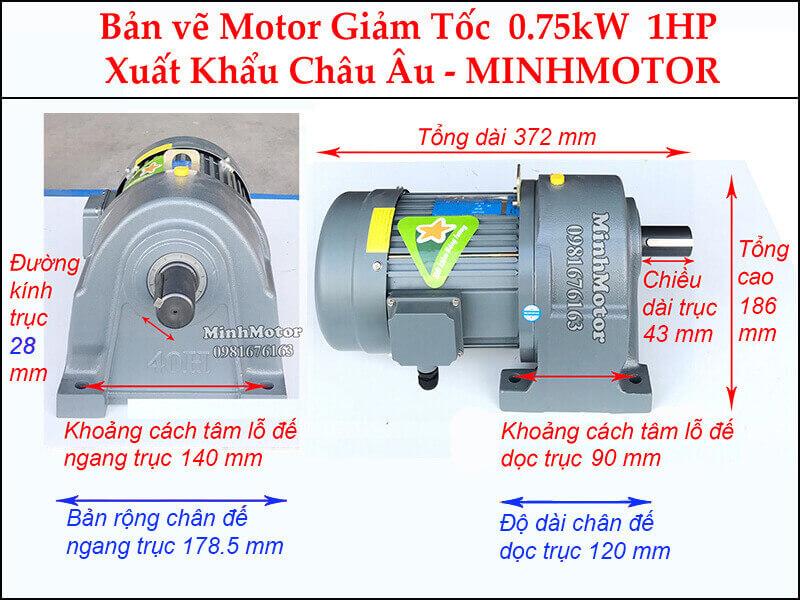 Kích thước động cơ giảm tốc 1Hp 0.75Kw chân đế trục 28