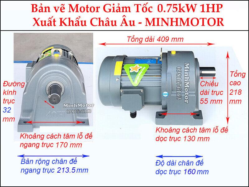 Kích thước động cơ giảm tốc 1Hp 0.75Kw chân đế trục 32