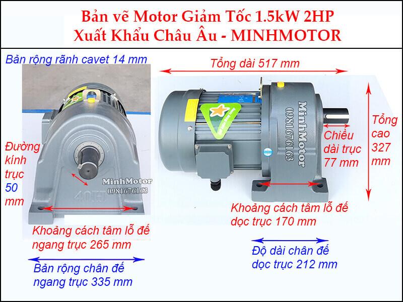 Động cơ giảm tốc 2Hp 1.5Kw chân đế trục 50