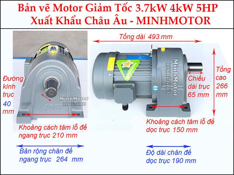 Động cơ giảm tốc 5Hp 3.7Kw chân đế trục 40