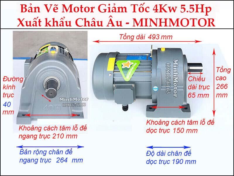 Động cơ giảm tốc 4Kw 5.5Hp chân đế trục 40