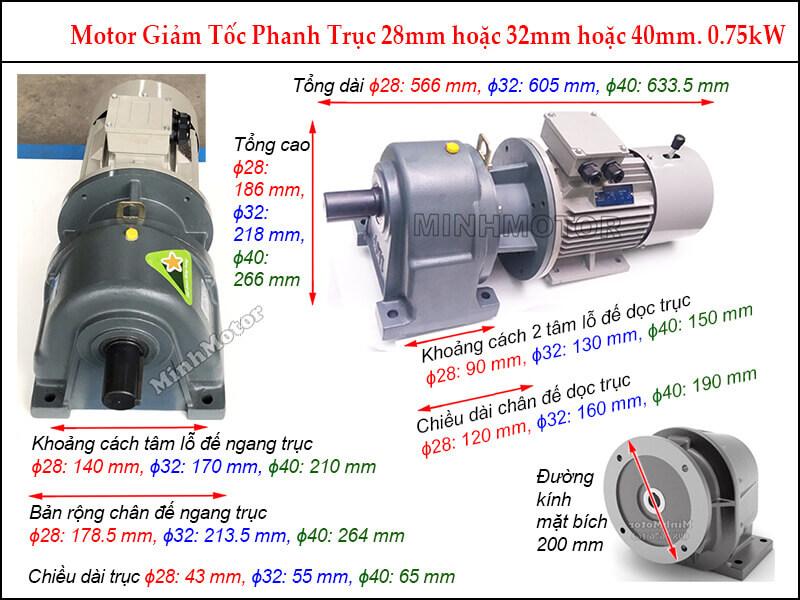 Motor phanh 0.75Kw 1HP liền hộp giảm tốc GHM