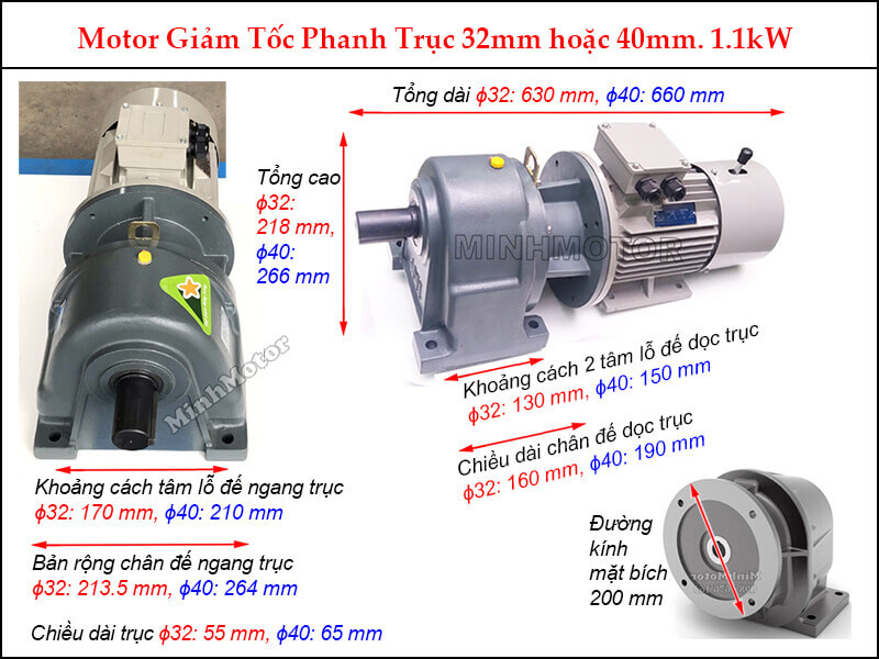 Motor phanh 1.1Kw 1.5HP liền hộp giảm tốc GHM