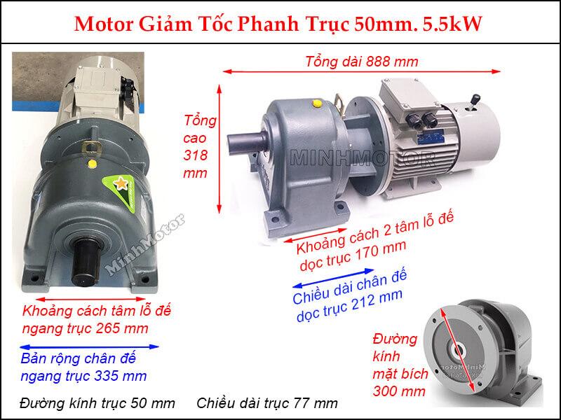 Motor phanh 7.5Hp 5.5Kw liền hộp giảm tốc GHM