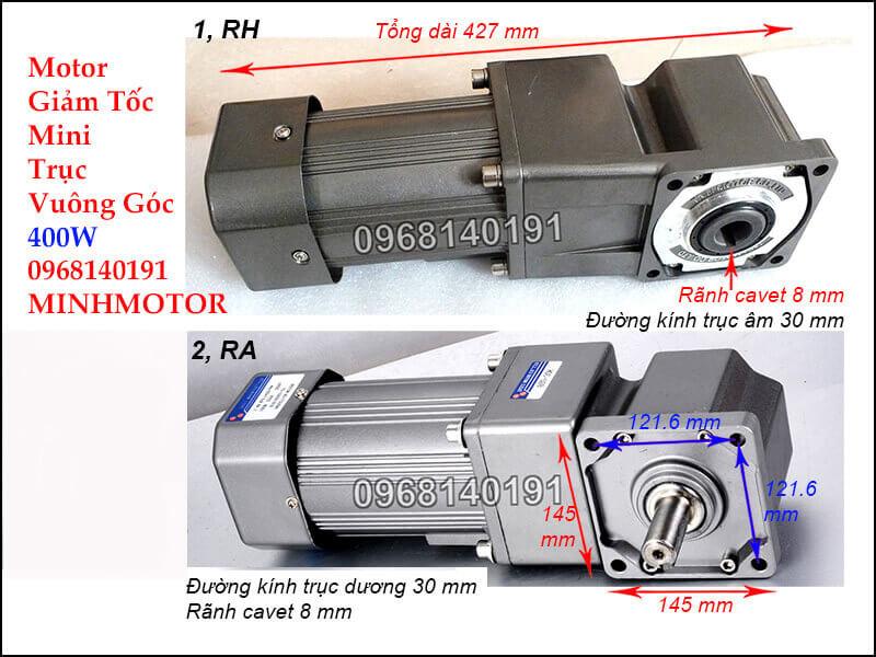 Motor giảm tốc mini 0.5Hp mini trục vuông góc