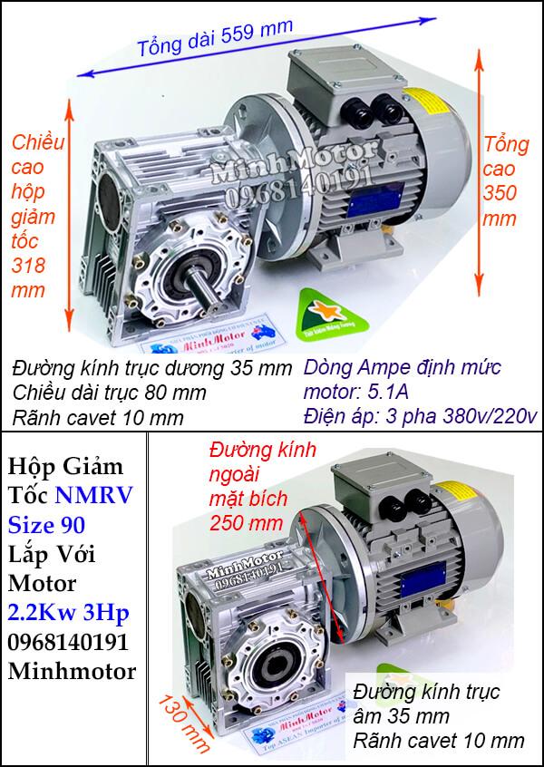 Động cơ giảm tốc 3Hp 2.2Kw trục vít NMRV size 90