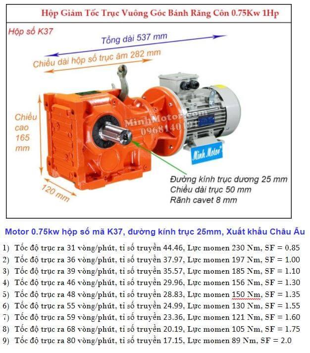 Động cơ giảm tốc 1Hp 0.75Kw trục ra 90 độ K37