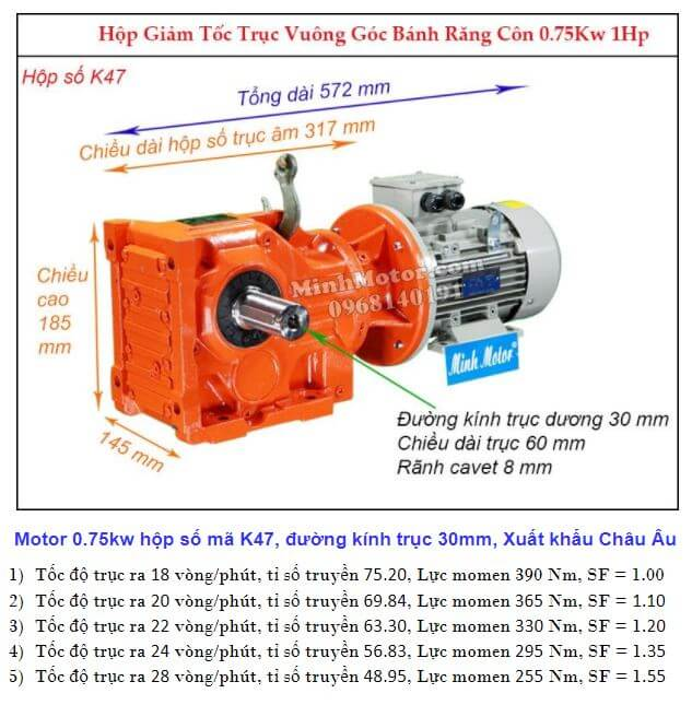 Motor giảm tốc 1Hp 0.75Kw cốt ra 90 độ tải nặng K47