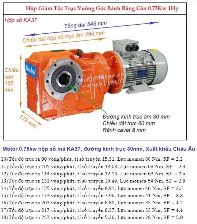 Động cơ giảm tốc 1Hp 0.75Kw trục ra 90 độ KA37