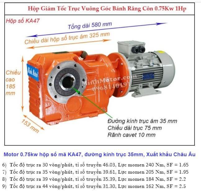 Motor giảm tốc 1Hp 0.75Kw cốt ra 90 độ tải nặng KA47