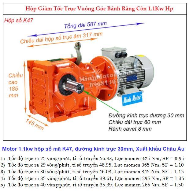 Động cơ giảm tốc 1.1Kw cốt ra 90 độ tải nặng (1.5Hp) K47