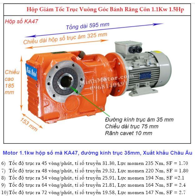 Động cơ giảm tốc 1.1Kw cốt ra 90 độ tải nặng (1.5Hp) KA47