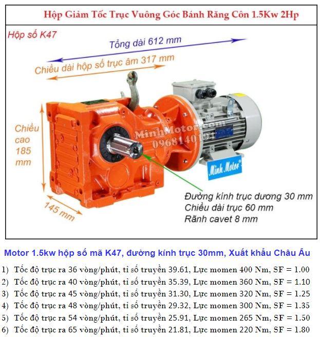 Động cơ giảm tốc 2Hp 1.5Kw cốt ra 90 độ tải nặng K47