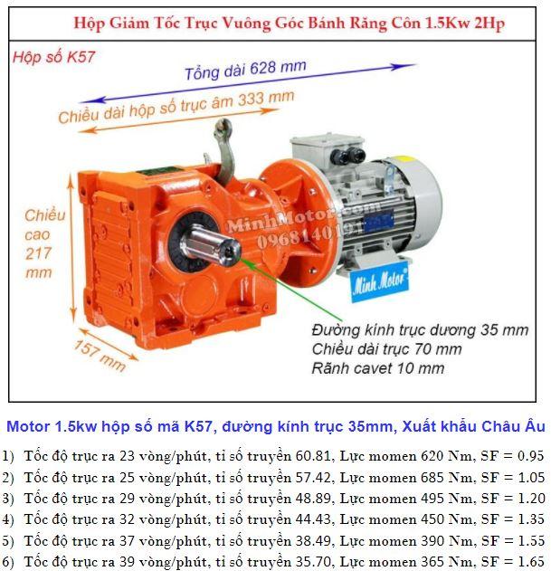 Động cơ giảm tốc 2Hp 1.5Kw cốt ra 90 độ tải nặng K57