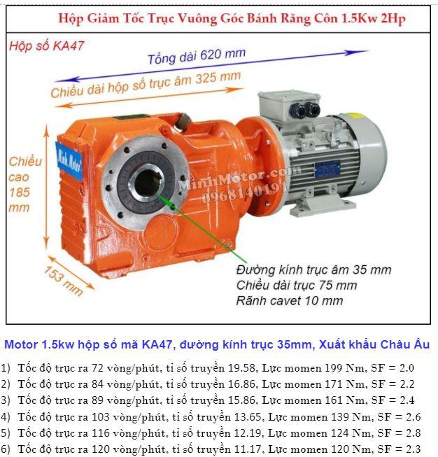 Động cơ giảm tốc 2Hp 1.5Kw cốt ra 90 độ tải nặng KA47