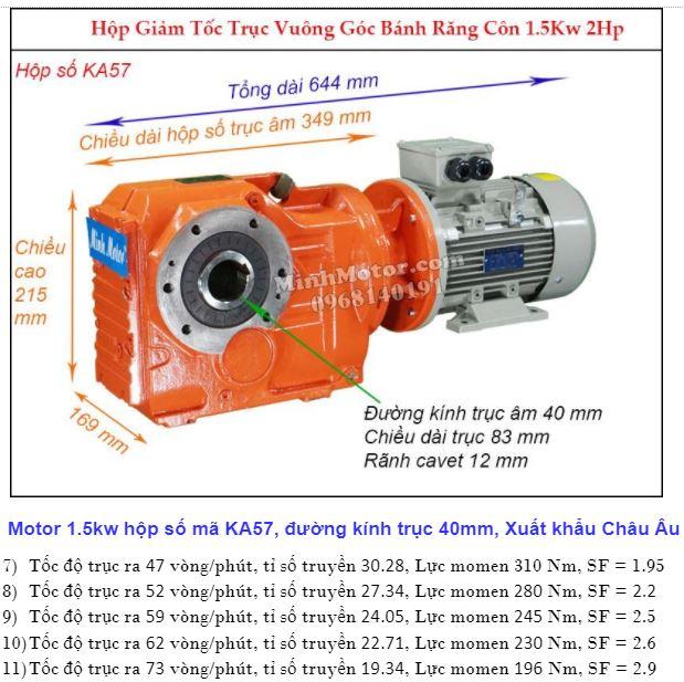 Động cơ giảm tốc 2Hp 1.5Kw cốt ra 90 độ tải nặng KA57