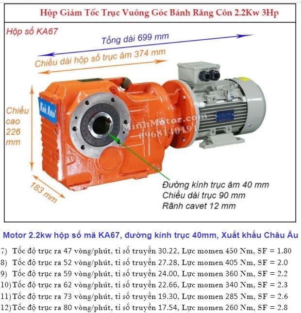 Động cơ giảm tốc 3Hp 2.2Kw trục ra 90 độ KA67