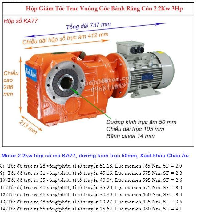 Động cơ giảm tốc 3Hp 2.2Kw trục ra 90 độ KA77