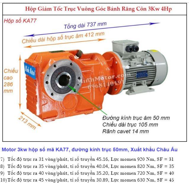 Động cơ giảm tốc 4Hp 3Kw cốt ra 90 độ tải nặng KA77