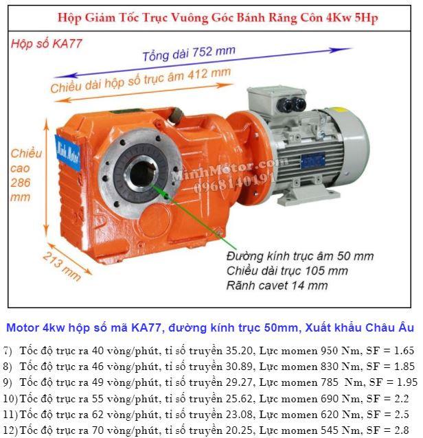 Động cơ giảm tốc 4Kw trục ra 90 độ (5.5Hp) KA77