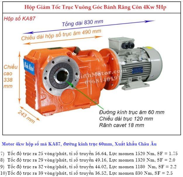 Động cơ giảm tốc 4Kw trục ra 90 độ (5.5Hp) KA87