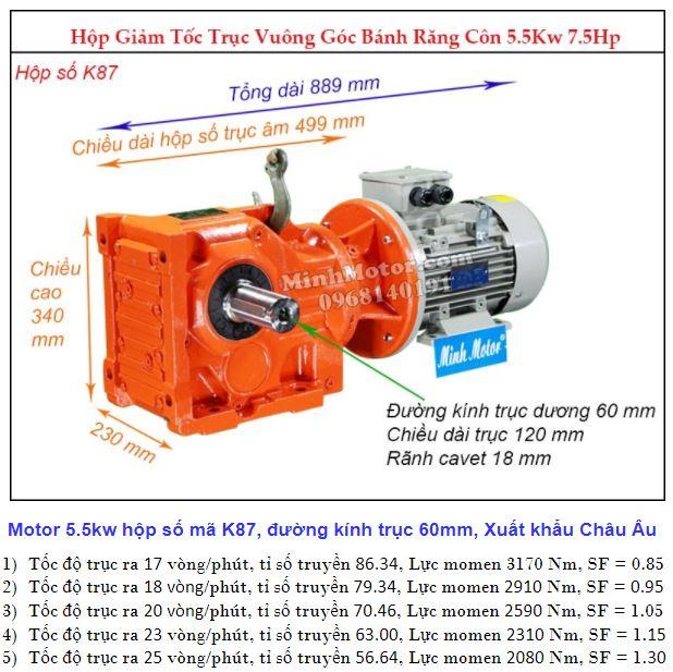 Động cơ giảm tốc 5.5Kw trục ra 90 độ (7.5Hp) K87