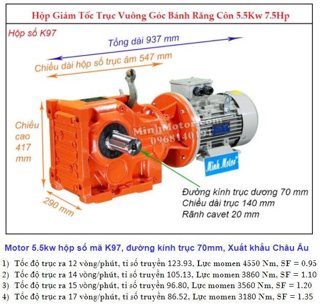 Động cơ giảm tốc 5.5Kw trục ra 90 độ (7.5Hp) K97