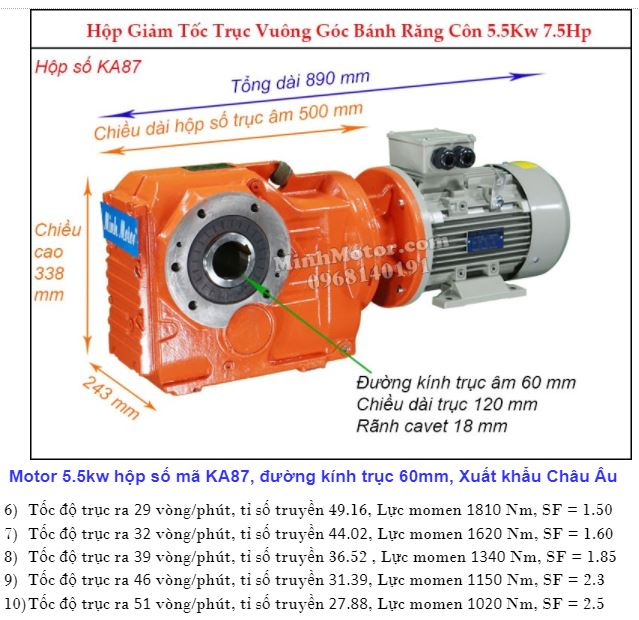 Động cơ giảm tốc 5.5Kw trục ra 90 độ (7.5Hp) KA87