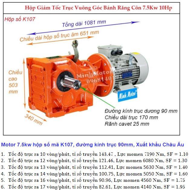Động cơ giảm tốc 7.5Kw trục ra 90 độ (10Hp) K107