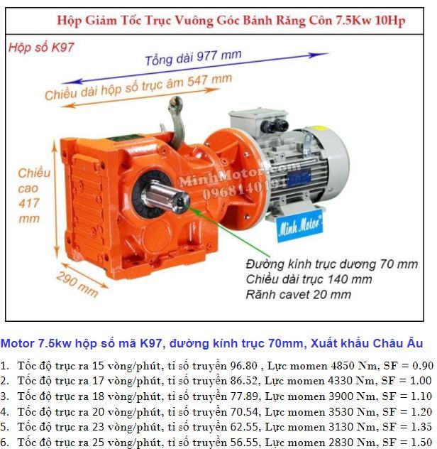 Động cơ giảm tốc 7.5Kw trục ra 90 độ (10Hp) K97