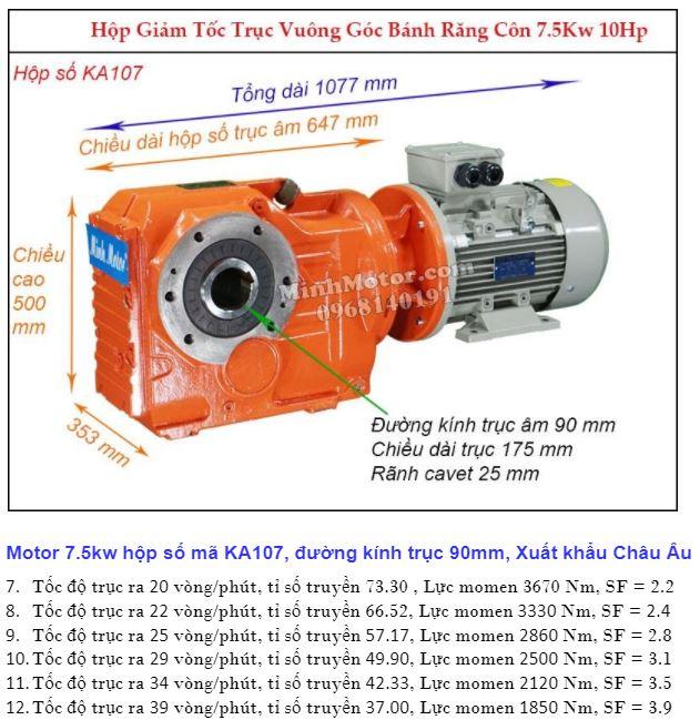 Động cơ giảm tốc 7.5Kw trục ra 90 độ (10Hp) KA107