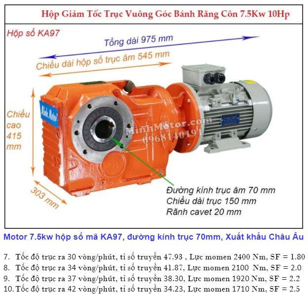 Động cơ giảm tốc 7.5Kw trục ra 90 độ (10Hp) KA97