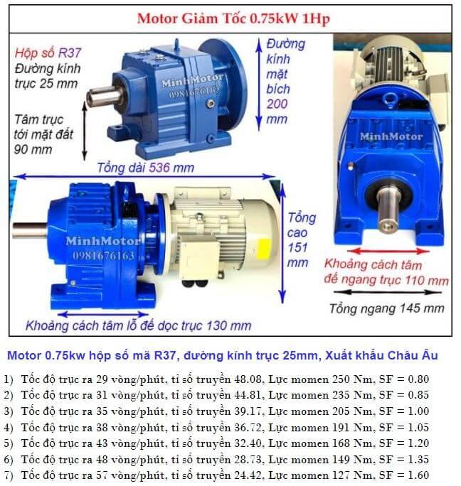 Động cơ giảm tốc 1Hp 0.75Kw làm việc nặng R37