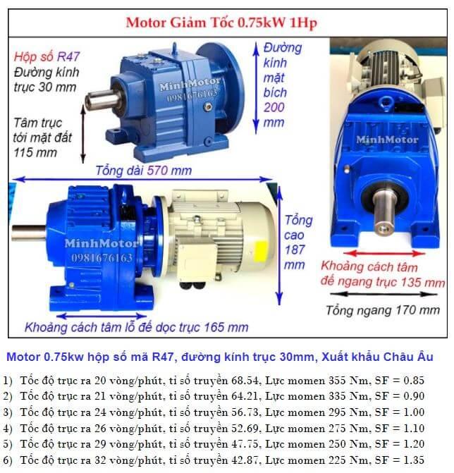 Động cơ giảm tốc 1Hp 0.75Kw làm việc nặng R47