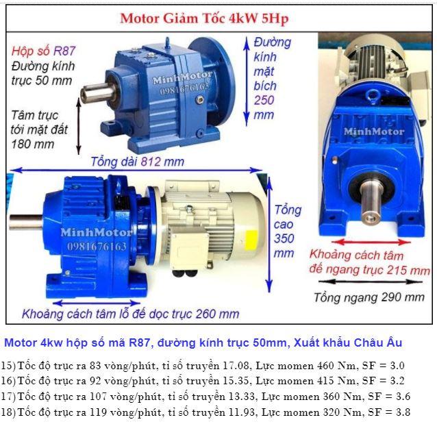 Motor giảm tốc 5Hp 3.7Kw trục ra thẳng R87