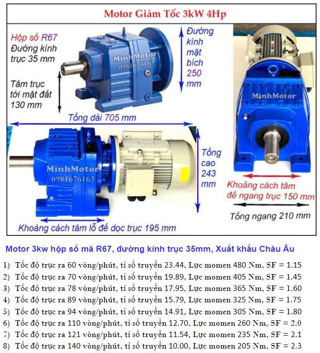 Motor giảm tốc 4Hp 3Kw trục ra thẳng R67