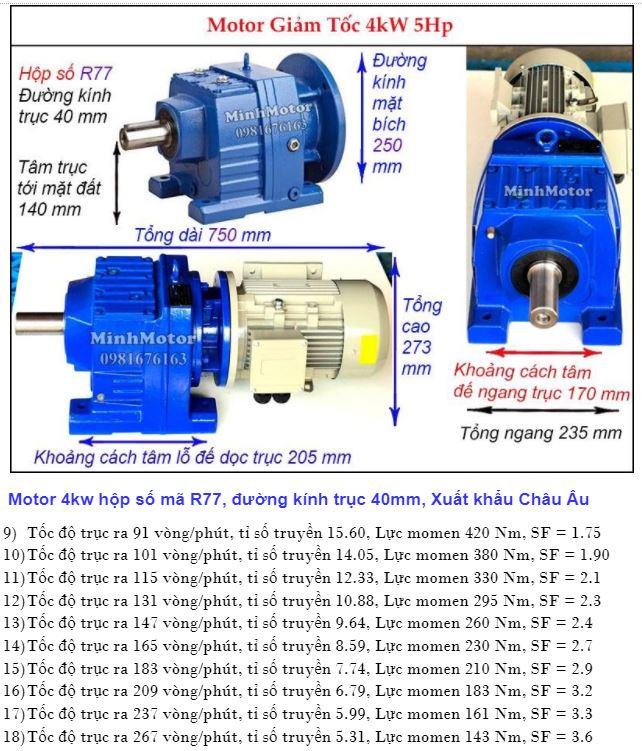 Motor giảm tốc 5.5Hp trục ra thẳng R77
