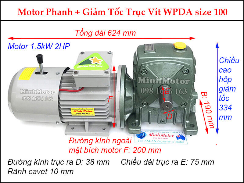 Motor phanh 1.5Kw 2HP liền hộp giảm tốc trục vuông góc WPDA size 100