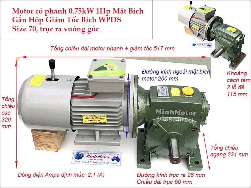 motor phanh 0.75Kw 1HP gắn hộp giảm tốc WPDS size 70