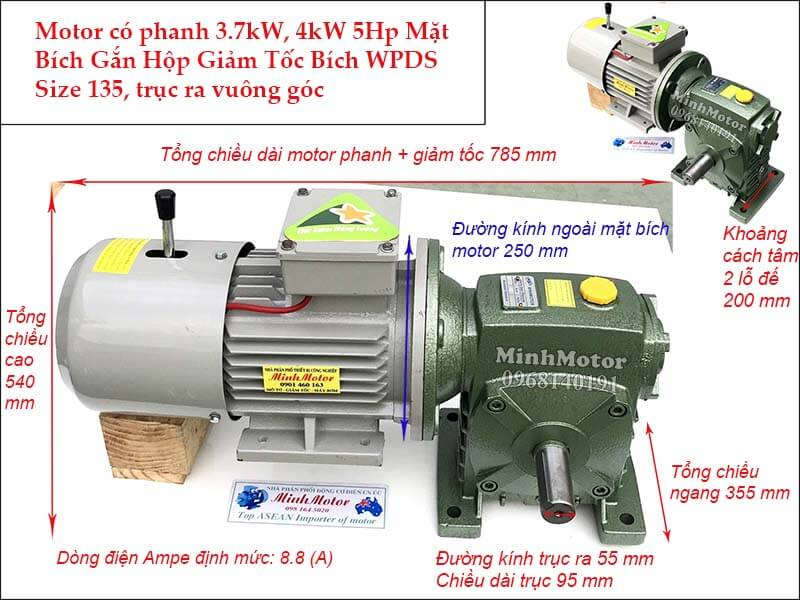 Motor phanh 5HP 3.7Kw gắn hộp giảm tốc WPDS size 135