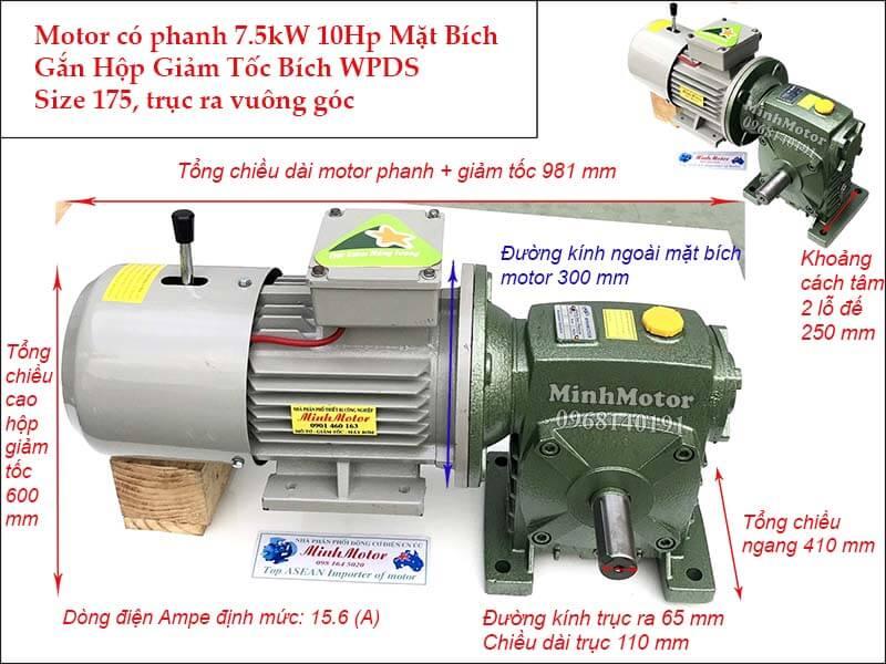 Motor phanh 10HP 7.5Kw gắn hộp giảm tốc WPDS