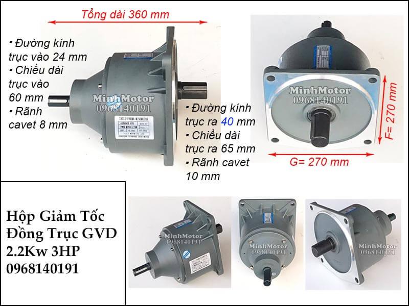 Hộp số giảm tốc wansin đồng trục GVD 2.2Kw 3hp