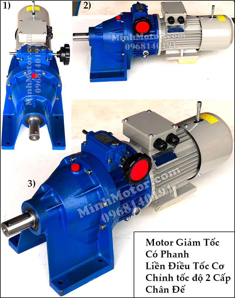 Motor giảm tốc có thắng từ gắn điều tốc cơ 2 cấp chân đế