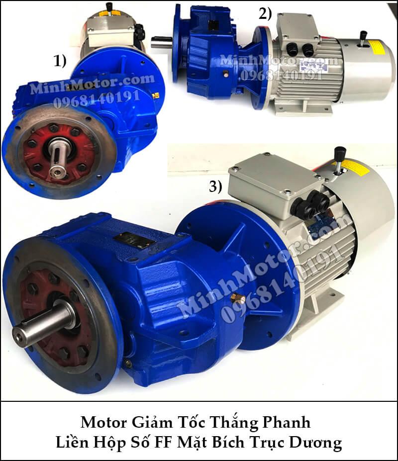 Motor giảm tốc có thắng từ liền hộp số mặt bích trục dương