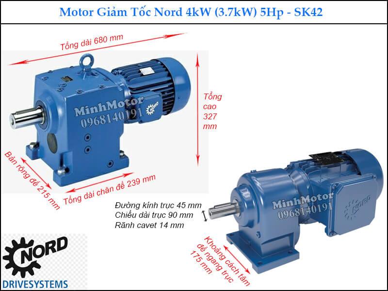 Kích thước kỹ thuật motor Nord trục thẳng 3.7Kw 5Hp SK42